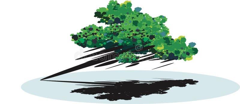Abstrakt träd i vinden royaltyfri illustrationer
