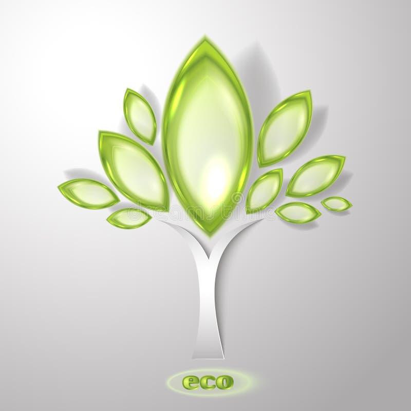 Abstrakt träd med det gröna bladet vektor illustrationer
