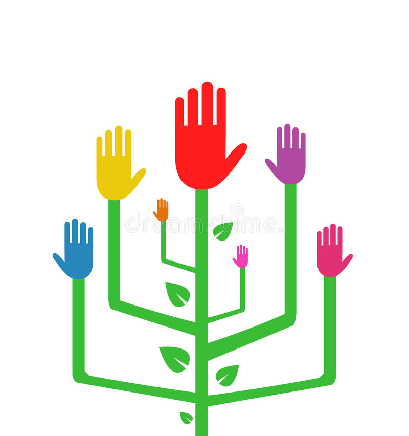 Abstrakt träd med färgrika händer stock illustrationer