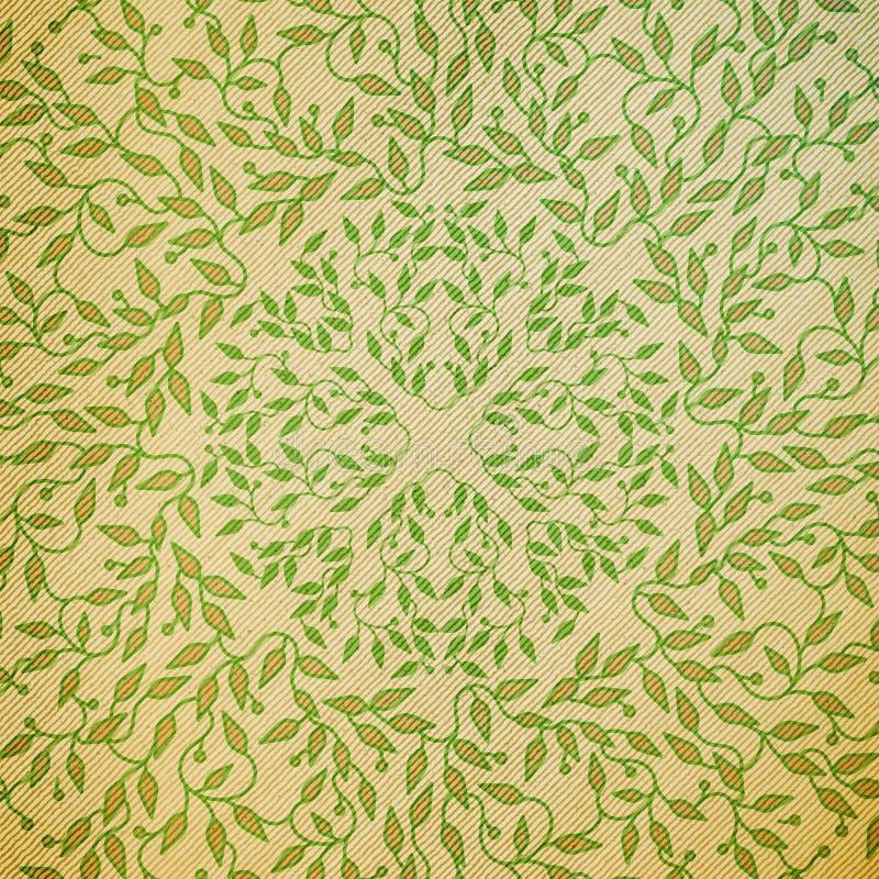 Abstrakt trädesign för grön färg Cirkel gjord textur med sidor Naturlig modell för Spa begrepp i linjär stil vektor stock illustrationer