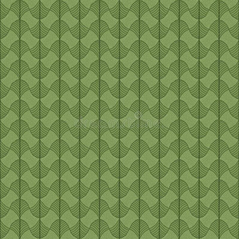 Abstrakt traditionell afrikansk prydnad Grön färg Sömlös vec stock illustrationer