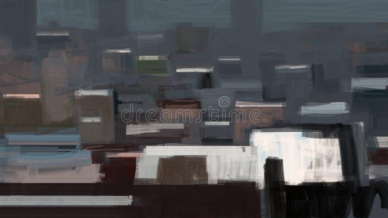 Abstrakt traditionell målning av en stad med illustrationen för flyg- sikt för byggnader stock illustrationer