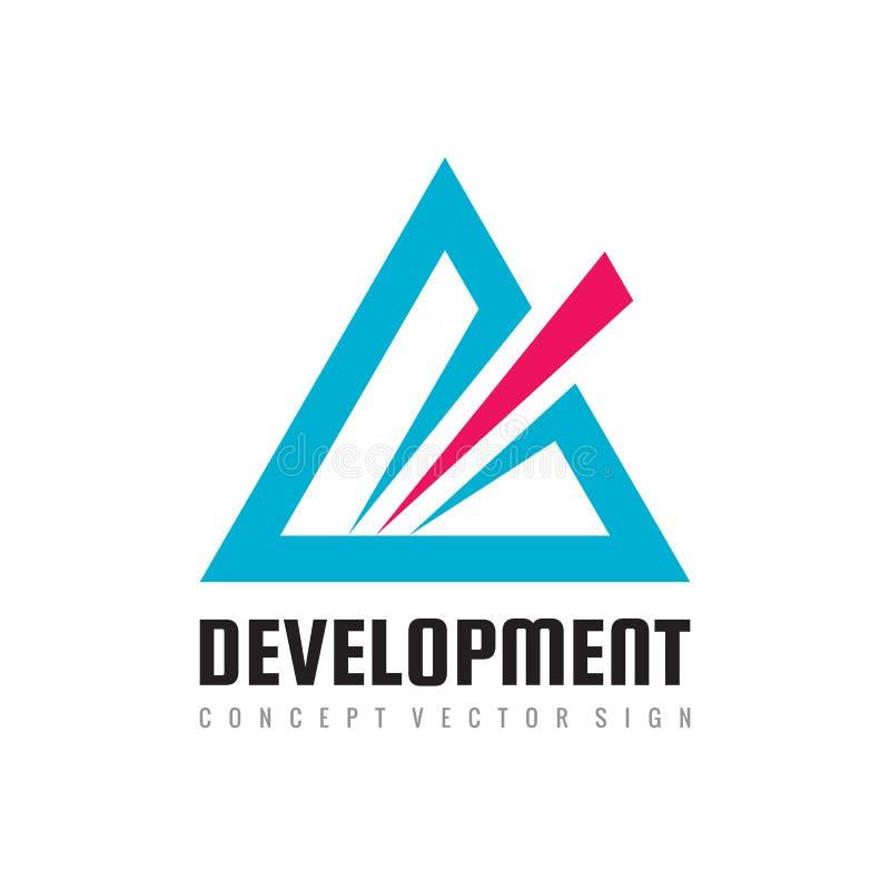 Abstrakt triangel för utveckling - illustration för begrepp för vektorlogomall för företags identitet Pyramidtecken vektor f?r bi vektor illustrationer