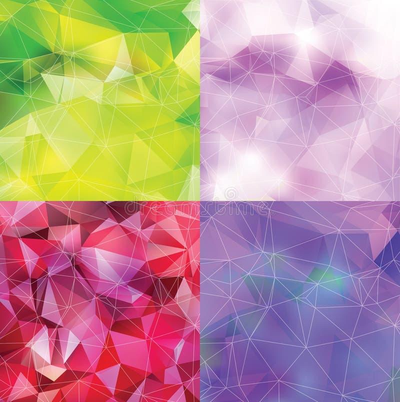 Abstrakt triangelbakgrundsuppsättning vektor illustrationer