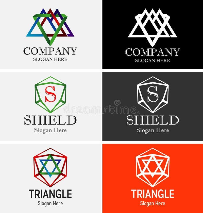 Abstrakt triangellogo stock illustrationer