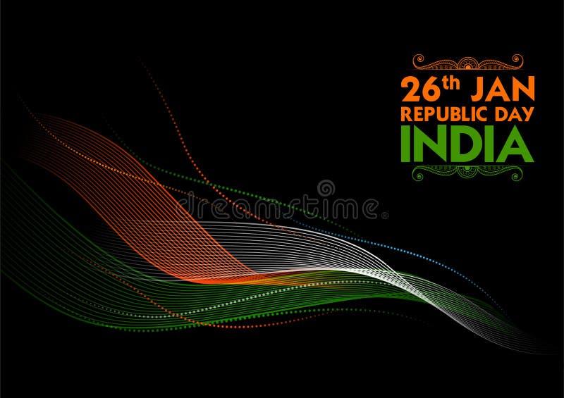 Abstrakt Tricolor baner med den indiska flaggan för 26th Januari lycklig republikdag av Indien royaltyfri illustrationer