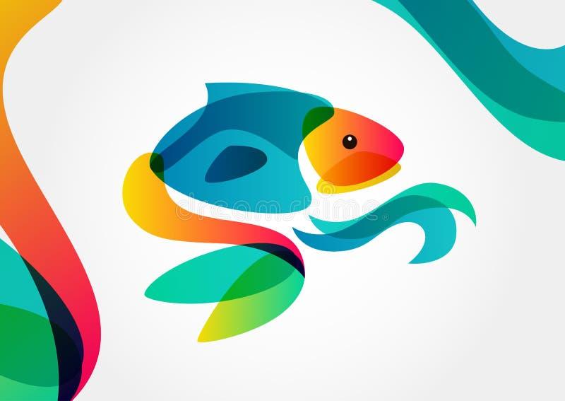 Abstrakt tropisk fisk på färgrik bakgrund, logodesigntempl royaltyfri illustrationer