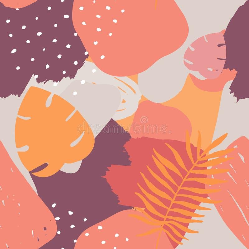 Abstrakt tropisk sömlös modell för vektor Utdragna beståndsdelar för färgrik hand, pappers- collage exotisk djungelväxtbakgrund S vektor illustrationer