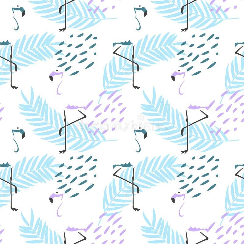 ABSTRAKT TROPISK TEXTUR SAMMANSÄTTNING FÖR FLAMINGOHANDATTRAKTION AV SOMMAR SOM KÄNNER DEN SÖMLÖSA VEKTORMODELLEN vektor illustrationer