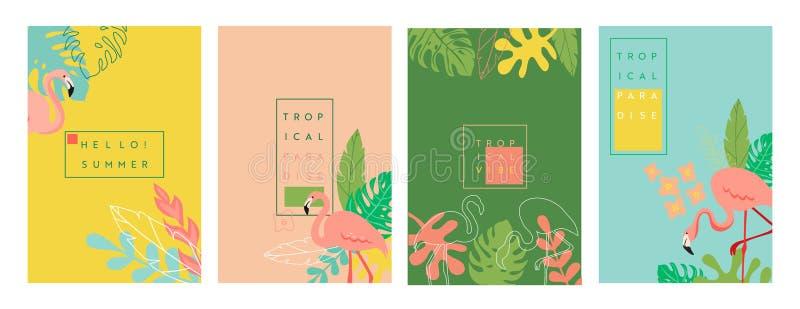 Abstrakt tropiskt baner med st?llet f?r text, ljusa vibrerande bakgrunder f?r sommar, affischer, r?kningsdesignmallar, socialt ma stock illustrationer