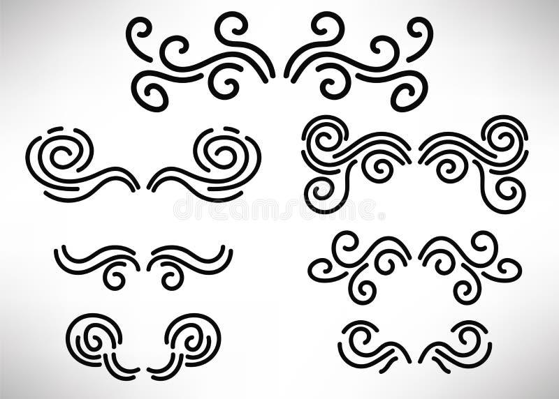 Abstrakt tunn linje titelrader, lockig designbeståndsdeluppsättning royaltyfri illustrationer