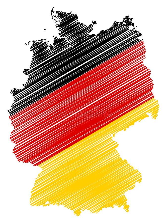 Abstrakt Tysklandöversikt med nationsflaggafärger som isoleras på vit bakgrund royaltyfri illustrationer