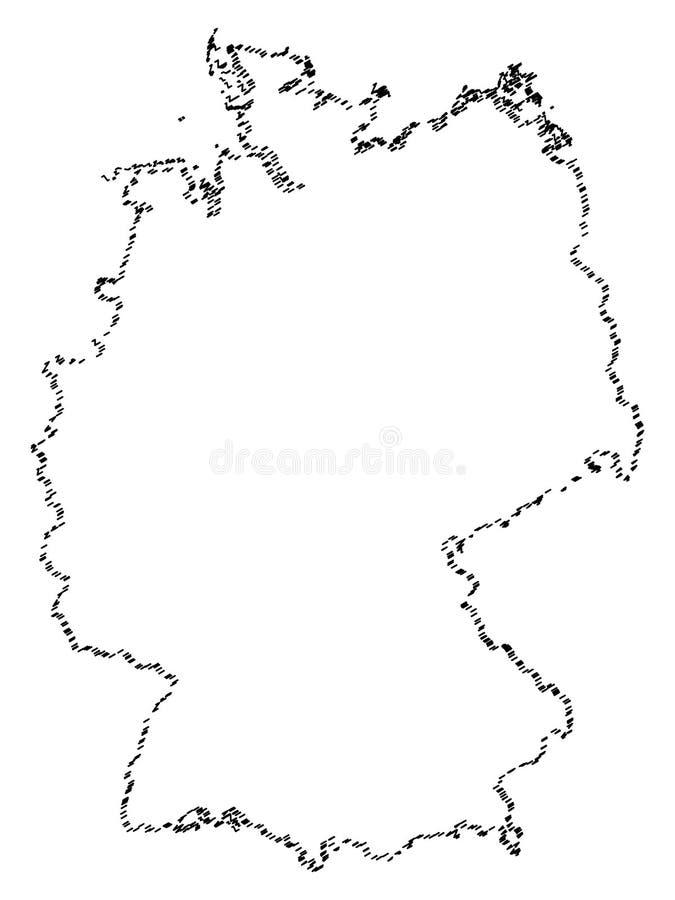 Abstrakt Tysklandöversikt som isoleras på vit bakgrund royaltyfri illustrationer