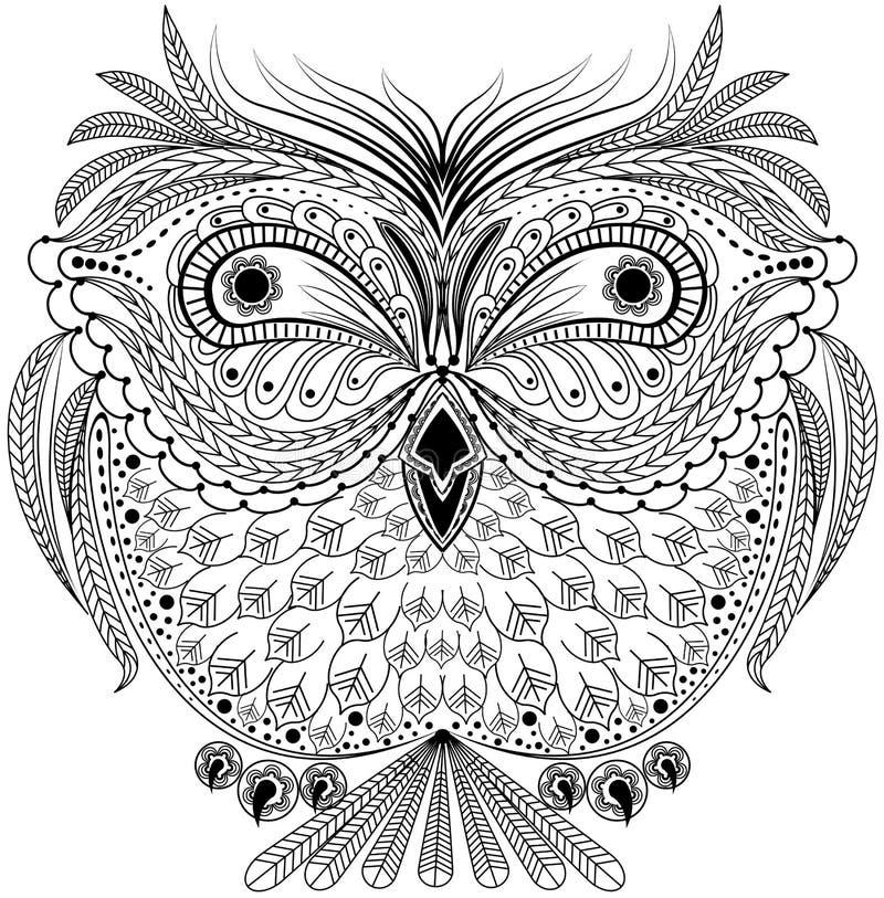 Abstrakt uggla för monokrom vektor illustrationer
