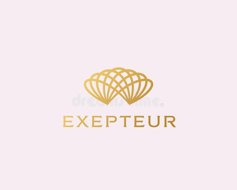 Abstrakt universal fodrad logodesign Elegant linjär vektorlogotyp Abstrakt luftigt blommasymbol vektor illustrationer