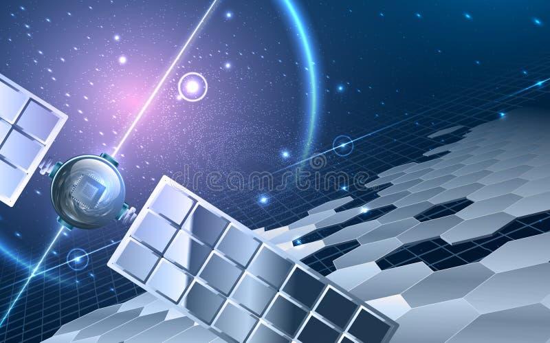 Abstrakt universum med satelliten royaltyfri illustrationer
