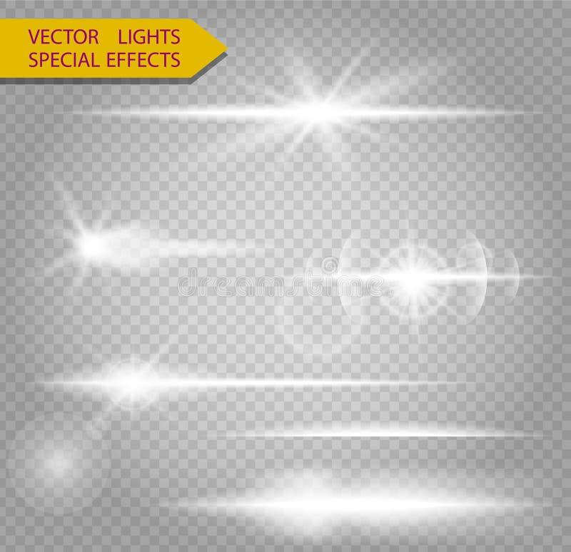 Abstrakt uppsättning av den belysninglinjer, signalljuset och komet royaltyfri illustrationer