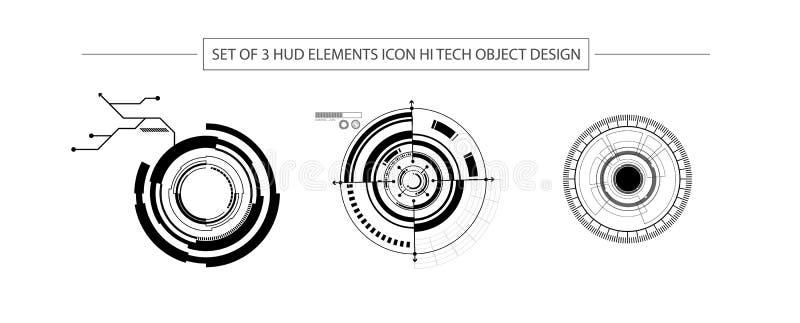 Abstrakt uppsättning av designen för objekt för hög tech för symbol för 3 HUD beståndsdelar vektor illustrationer