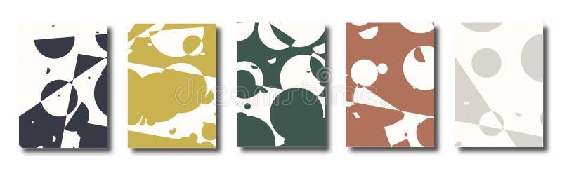 Abstrakt uppsättning av räkningar, bakgrunder med prickar, cirklar Den smutsiga oändligheten prack geometriska affischer stock illustrationer