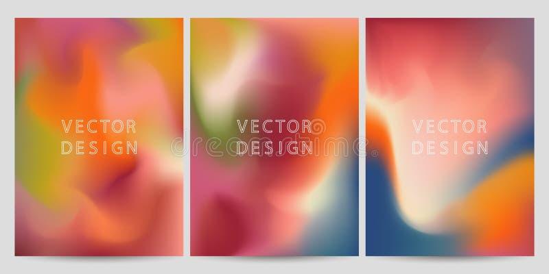 Abstrakt uppsättning för bakgrunder för lutningvätskeformer Holographic folie royaltyfri illustrationer