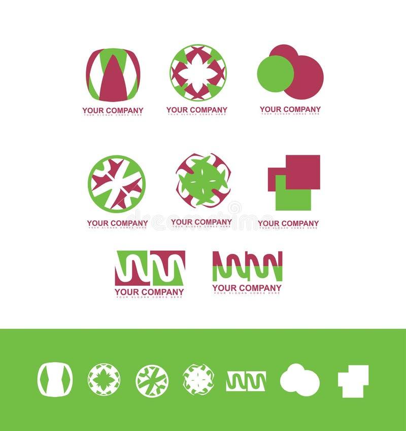 Abstrakt uppsättning för logodesignsymbol royaltyfri illustrationer