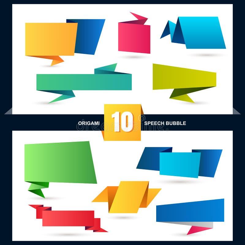 Abstrakt uppsättning för origamianförandebubbla, vektorbakgrund stock illustrationer