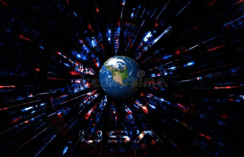 Abstrakt USA-bakgrund med planetjord Futuristiskt amerikanska flagganbegrepp för självständighetsdagen, veteran, minnesdagen o stock illustrationer