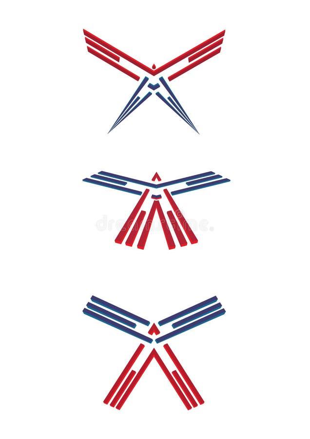 Abstrakt USA patriotisk amerikan Eagle Bald Icon Symbol vektor illustrationer