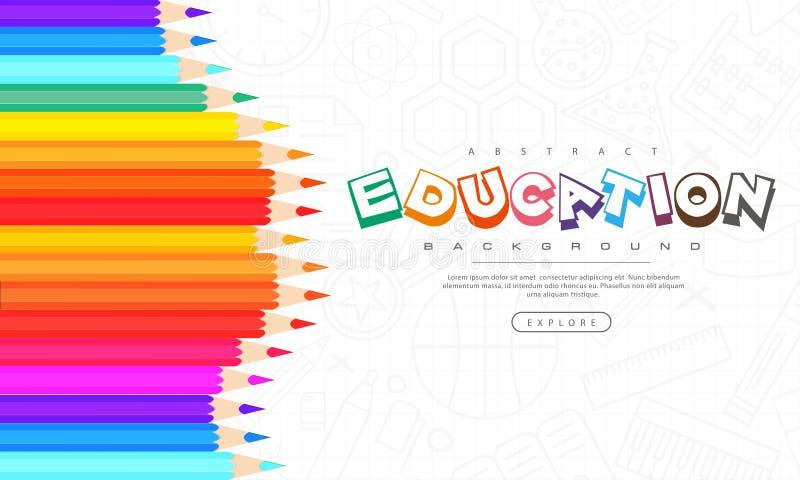 Abstrakt utbildningsbakgrund, tillbaka till skola som lär, student, undervisning, vektorillustrationbakgrund med färgrika blyerts royaltyfri illustrationer