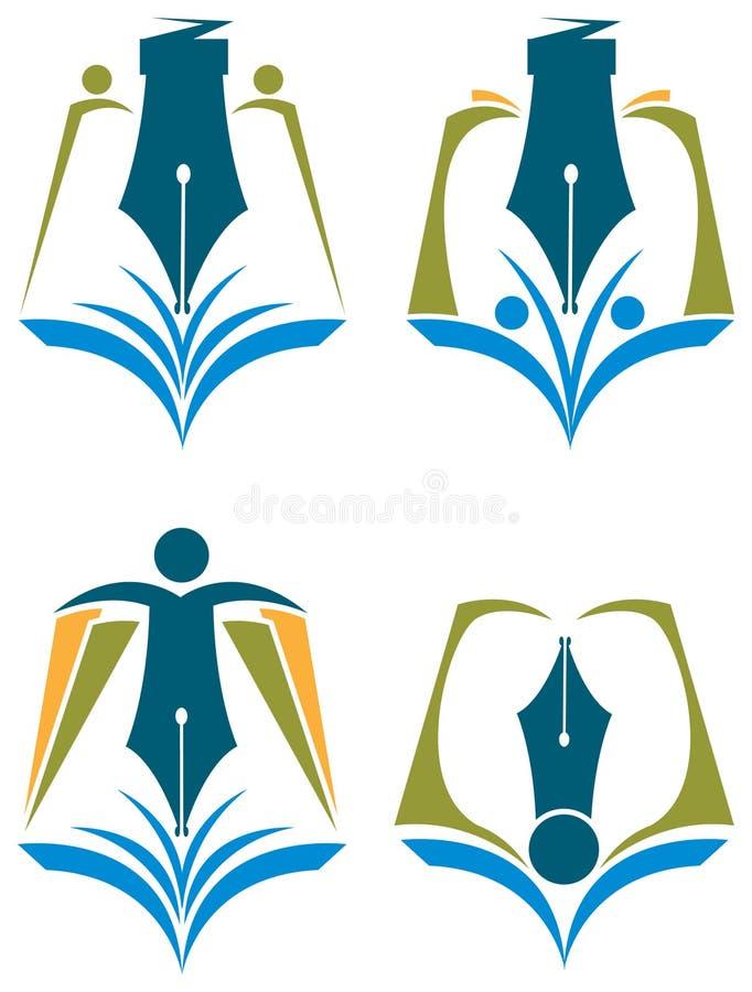 Abstrakt utbildningslogouppsättning royaltyfri illustrationer