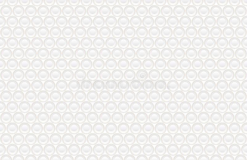 Abstrakt utföra i relief vit textur för volym, sömlös modell för vektor Tryckt ned bakgrund för rund form, geometrisk modell 3d stock illustrationer