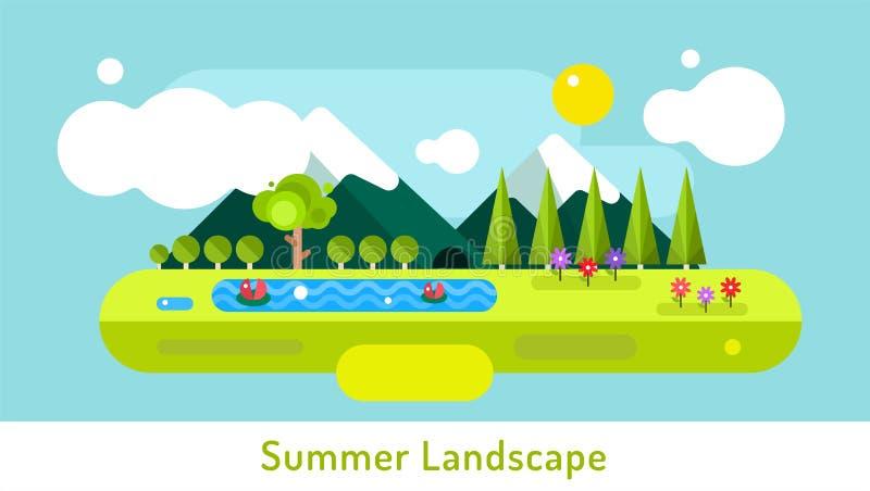 Abstrakt utomhus- sommarlandskap Träd och… lava royaltyfri illustrationer