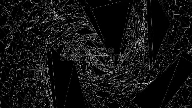 Abstrakt utrymme av att flytta skarpa trianglar djur Mörka skarpa trianglar samlar i utrymme i spiral modell _ stock illustrationer