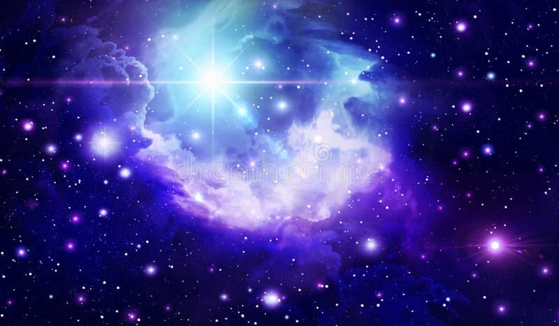Abstrakt utrymmebakgrund, astronomi, bakgrund, svart, blått som är ljus, moln, utrymme, galax, oändlighet, ljus, nebulosa, natt, stock illustrationer