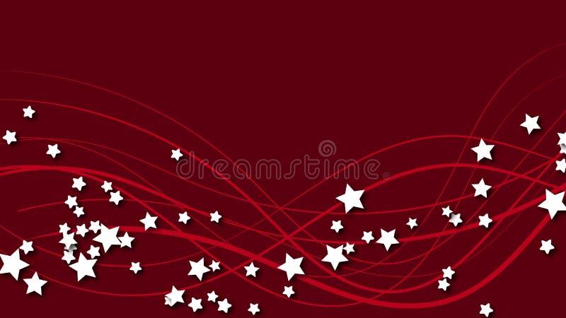 Abstrakt utrymmebakgrund med röda linjer och tredimensionella vita stjärnor med en skugga Vita stjärnor på en röd ljus kulör baks royaltyfri illustrationer