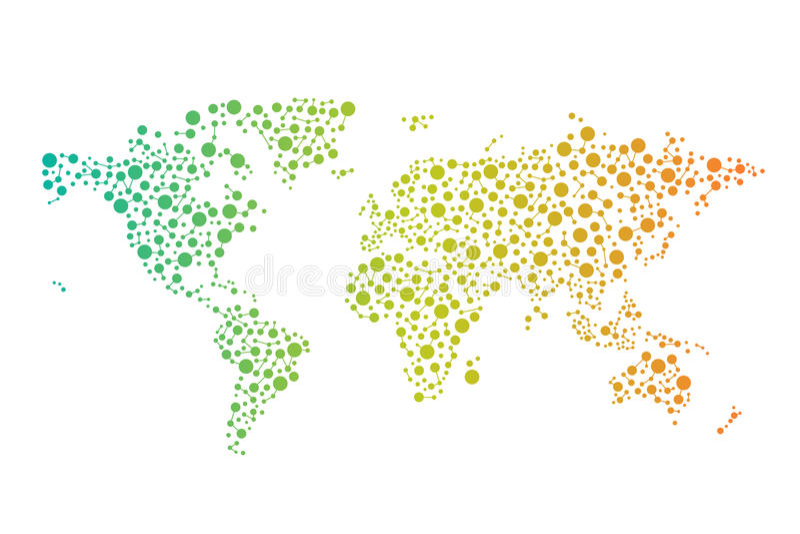 Abstrakt världsanslutningsöversikt med cirklar, linjer royaltyfri illustrationer