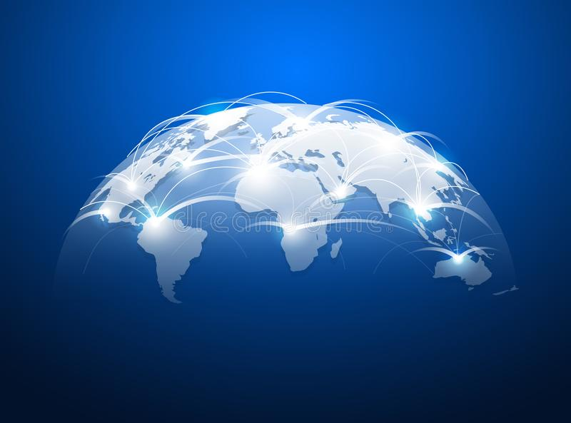 Abstrakt världskarta med nätverksinternet, globalt anslutningsbegrepp stock illustrationer