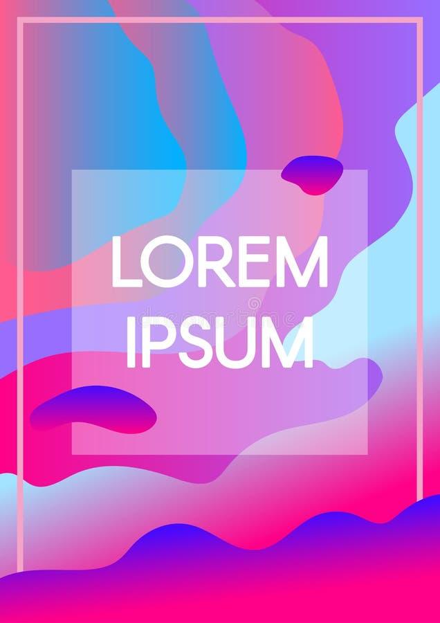 Abstrakt v?tska formar neonbakgrund med textramen vektor illustrationer