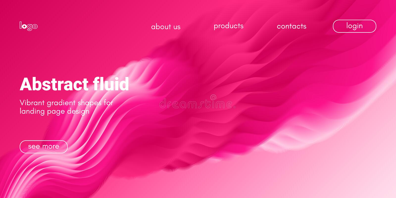 Abstrakt vätskebakgrund för att landa sidan vektor illustrationer