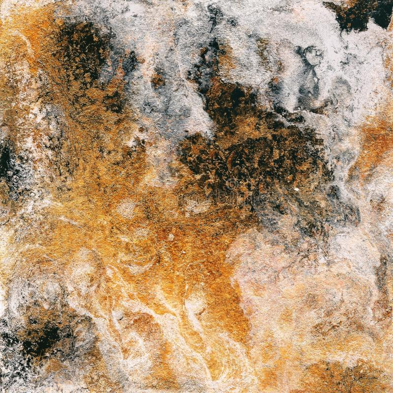 Abstrakt vätskeguld- bakgrund Modell med abstrakta guld- och svarta vågor marmor Handgjord yttersida Flytande målar royaltyfri foto