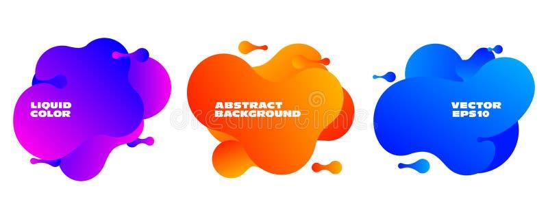 Abstrakt vätskeuppsättning för färgvektorbaner Färgrik modern mall royaltyfri illustrationer