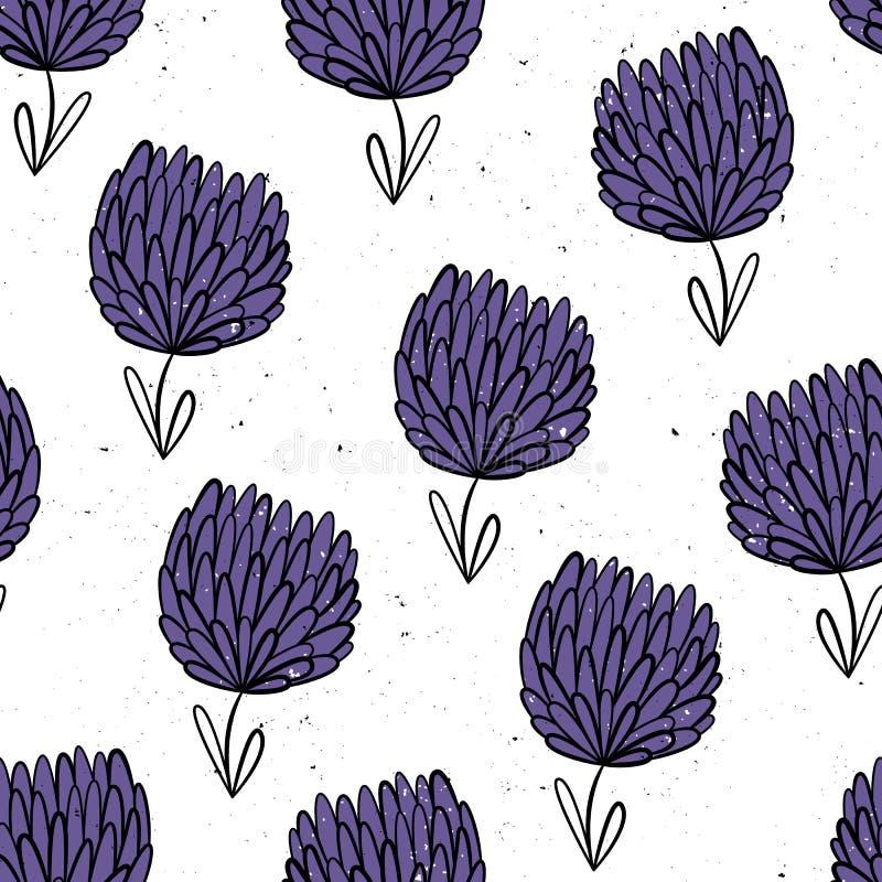 abstrakt växt av släkten Trifolium blommor mönsan den seamless vektorn playnig för bakgrundsblommalampa Hand-dragen stil Skandina vektor illustrationer