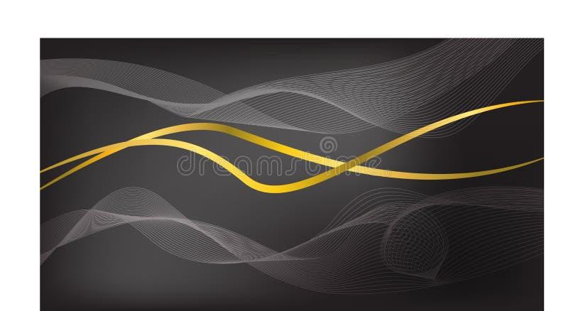 Abstrakt våg med den guld- linjen på svart bakgrund stock illustrationer