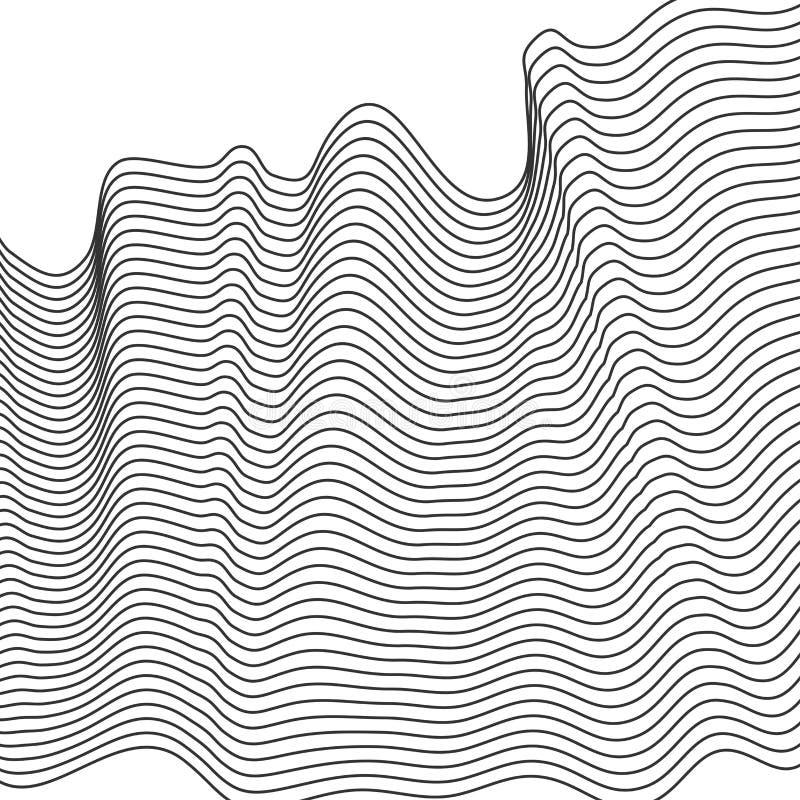 Abstrakt vågbeståndsdel för design Stiliserad linje konstbakgrund också vektor för coreldrawillustration Den krökta krabba linjen vektor illustrationer