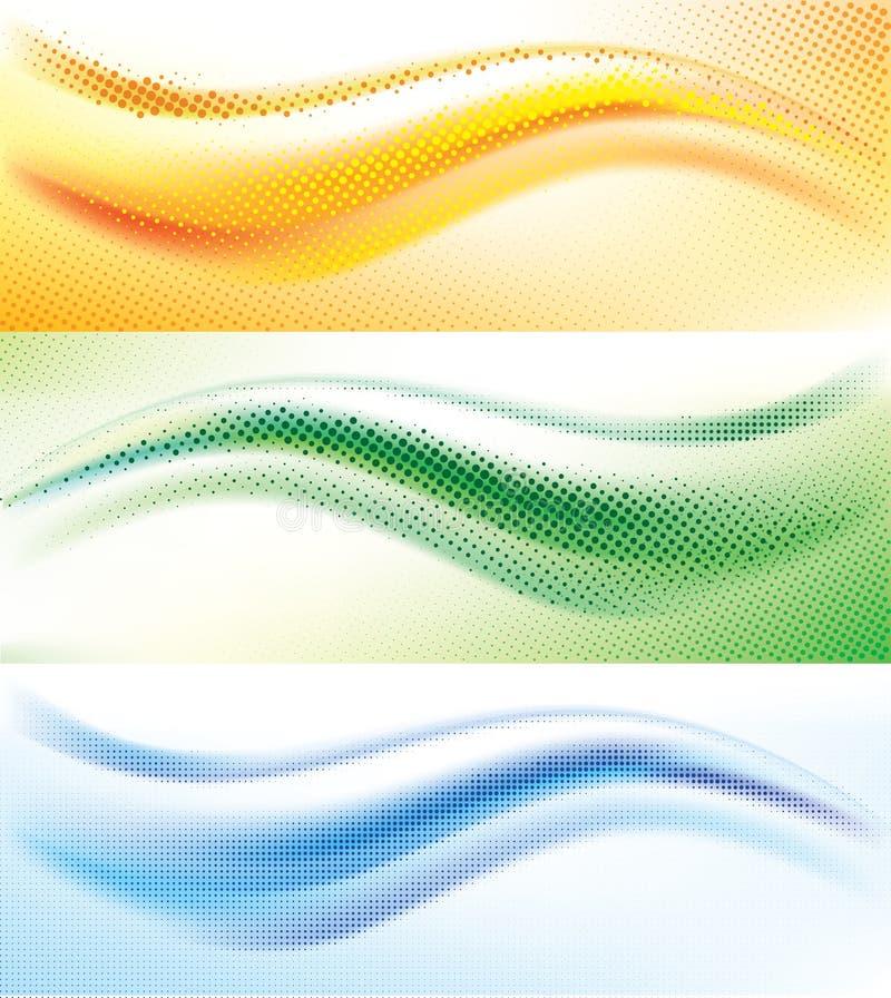 Abstrakt våghalvtonbakgrund vektor illustrationer
