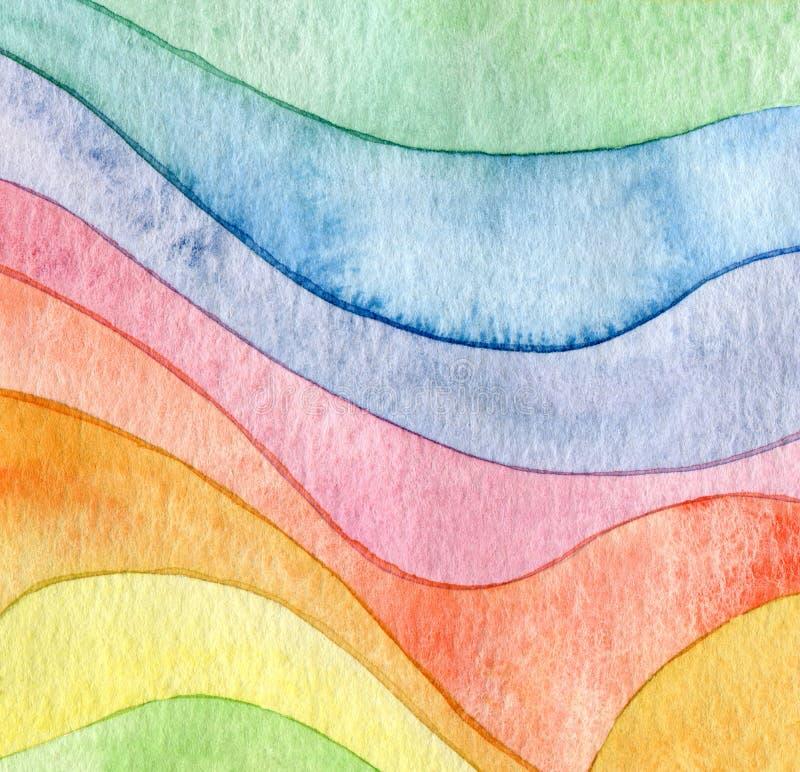 Abstrakt vågvattenfärgbakgrund arkivfoto