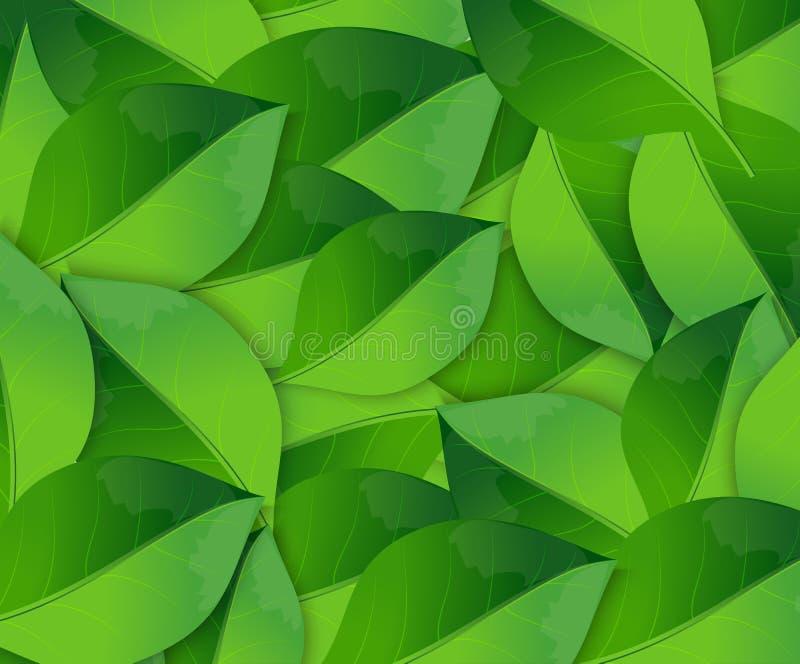 Abstrakt vårbakgrund med gröna sidor royaltyfri illustrationer
