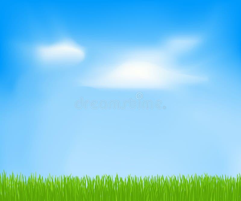 Abstrakt vårbakgrund med himmel, moln, grönt gräs royaltyfri illustrationer