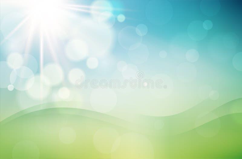 Abstrakt vårbakgrund med solen och suddig bokehbakgrund royaltyfri illustrationer