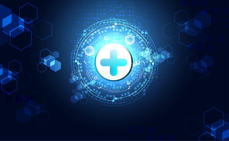 Abstrakt vård- vetenskap består hälsa plus digital teknologi c stock illustrationer
